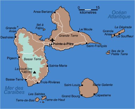 Carte de Guadeloupe   Transatlantique à la voile